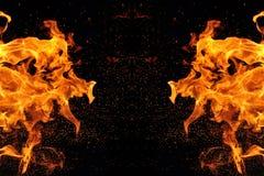 Αφαίρεση, καίγοντας πυρκαγιά με τους σπινθήρες Μυστικός τύπος πεταλούδας ή τέρατος Οριζόντια αντανάκλαση στοκ εικόνα με δικαίωμα ελεύθερης χρήσης