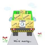 Αφαίρεση μεταφορών και σπιτιών Τυποποιημένο σπίτι με τα κιβώτια για την κίνηση στο φορτηγό Το πράσινο φορτηγό με το φορτίο είναι  ελεύθερη απεικόνιση δικαιώματος