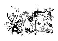 Αφαίρεση παραλιών Γραφικές τέχνες χειροποίητος Μαύρο λευκό μελάνι Στοκ Εικόνες
