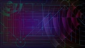 Αφαίρεση Τεμνόμενα γραμμές και κύματα Χάραξη ενός συγκροτήματος ηλεκτρονικών υπολογιστών ελεύθερη απεικόνιση δικαιώματος