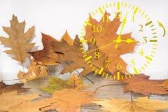 Αφαίρεση τοπίων φθινοπώρου Πίσω χρόνος πτώσης Χρόνος αποταμίευσης φωτός της ημέρας στοκ εικόνες