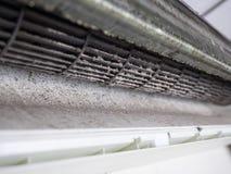 Αφαιρούμενη κάλυψη του κλιματιστικού μηχανήματος και του βρώμικου ανεμιστήρα κλουβιών σκιούρων Στοκ Εικόνα