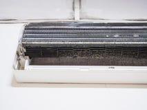 Αφαιρούμενη κάλυψη του κλιματιστικού μηχανήματος και του βρώμικου ανεμιστήρα κλουβιών σκιούρων, ho στοκ εικόνες