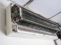 Αφαιρούμενη κάλυψη του κλιματιστικού μηχανήματος και του βρώμικου ανεμιστήρα κλουβιών σκιούρων, ho στοκ φωτογραφία με δικαίωμα ελεύθερης χρήσης