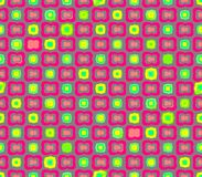 Αφηρημένα άνευ ραφής γκρίζα ρόδινα λουλούδια υποβάθρου και κίτρινα τετράγωνα Στοκ Εικόνες