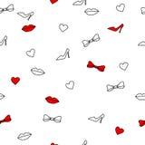 Αφηρημένα άνευ ραφής τόξα καρδιών χειλικών παπουτσιών υποβάθρου άσπρα και κόκκινα Στοκ φωτογραφία με δικαίωμα ελεύθερης χρήσης