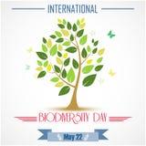 Αφηρημένα δέντρα για τη διεθνή ημέρα βιοποικιλότητας διανυσματική απεικόνιση