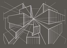 Αφηρημένα αρχιτεκτονικά κιβώτια σκίτσων στο γκρίζο υπόβαθρο Στοκ Εικόνες