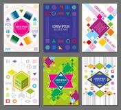 Αφηρημένα γεωμετρικά διανυσματικά εμβλήματα, αφίσες, ιπτάμενα που τίθενται στο ύφος σχεδίου bauhaus ελεύθερη απεικόνιση δικαιώματος