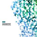 Αφηρημένα γεωμετρικά μπλε και πράσινα τούβλα, τρίγωνο, κύβος, τρισδιάστατο Vec Στοκ Εικόνες