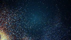 Αφηρημένα γρήγορα μόρια ροής που κινούνται, μπλε άνευ ραφής βρόχος απεικόνιση αποθεμάτων