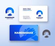 Αφηρημένα διανυσματικά λογότυπο χειραψιών Bro και πρότυπο επαγγελματικών καρτών Κούνημα χεριών φίλων, συνεργατών ή αδελφών που εν ελεύθερη απεικόνιση δικαιώματος