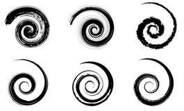 Αφηρημένα διανυσματικά σπειροειδή στοιχεία, ακτινωτά γεωμετρικά σχέδια στοκ εικόνες