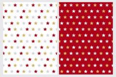Αφηρημένα διανυσματικά σχέδια αστεριών Κόκκινο, χρυσό, γκρίζο και άσπρο σχέδιο ελεύθερη απεικόνιση δικαιώματος