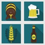 Αφηρημένα εικονίδια μπύρας που τίθενται με τη μακριά σκιά ελεύθερη απεικόνιση δικαιώματος