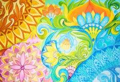 Αφηρημένα ελαιοχρώματα σχεδίων σε έναν καμβά με τη floral διακόσμηση Στοκ Εικόνα
