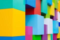 Αφηρημένα ζωηρόχρωμα αρχιτεκτονικά αντικείμενα Κίτρινοι, κόκκινοι, πράσινοι, μπλε, ρόδινοι, άσπροι χρωματισμένοι φραγμοί Έννοια χ Στοκ εικόνες με δικαίωμα ελεύθερης χρήσης