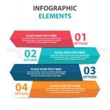 Αφηρημένα ζωηρόχρωμα στοιχεία επιχειρησιακού Infographics εμβλημάτων βελών, παρουσίασης διανυσματική απεικόνιση σχεδίου προτύπων  Στοκ Φωτογραφία