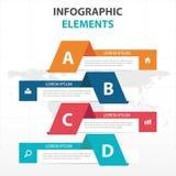 Αφηρημένα ζωηρόχρωμα στοιχεία επιχειρησιακού Infographics εμβλημάτων, παρουσίασης διανυσματική απεικόνιση σχεδίου προτύπων επίπεδ Στοκ εικόνες με δικαίωμα ελεύθερης χρήσης