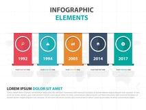 Αφηρημένα ζωηρόχρωμα στοιχεία Infographics επιχειρησιακής υπόδειξης ως προς το χρόνο ετικετών, παρουσίασης διανυσματική απεικόνισ Στοκ Φωτογραφία