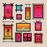 Αφηρημένα ζωηρόχρωμα σύμβολα διακοσμήσεων και εικονίδια πλαισίων καθορισμένα Στοκ εικόνες με δικαίωμα ελεύθερης χρήσης
