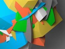 Αφηρημένα ζωηρόχρωμα χαοτικά polygonal τεμάχια σε γκρίζο διανυσματική απεικόνιση