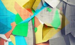 Αφηρημένα ζωηρόχρωμα χαοτικά polygonal τεμάχια στο σκυρόδεμα ελεύθερη απεικόνιση δικαιώματος