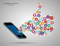 Αφηρημένα δημιουργικά χέρια siluet έννοιας διανυσματικά των εικονιδίων Τον Ιστό και τις κινητές εφαρμογές που απομονώνονται για σ Στοκ Φωτογραφίες