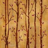 Αφηρημένα διακοσμητικά δέντρα - άνευ ραφής υπόβαθρο - ξύλινη επιφάνεια Στοκ Φωτογραφία