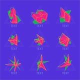 Αφηρημένα διανυσματικά 9 εικονίδια στο γεωμετρικό polygonal ύφος Στοκ Φωτογραφία