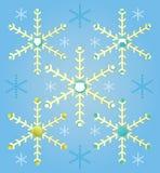 Αφηρημένα καθορισμένα snowflakes Χριστουγέννων, γενειάδα santa στο μπλε υπόβαθρο Στοκ Εικόνες