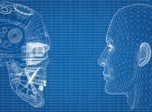Αφηρημένα κεφάλια ανθρώπων και ρομπότ με το δυαδικό κώδικα ελεύθερη απεικόνιση δικαιώματος