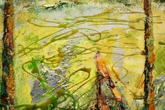 Αφηρημένα κτυπήματα βουρτσών χρωμάτων χρυσά πορτοκαλιά, οργανικό υφαντικό υπνωτικό υπόβαθρο Στοκ φωτογραφία με δικαίωμα ελεύθερης χρήσης