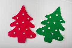αφηρημένα κόκκινα και πράσινα χριστουγεννιάτικα δέντρα Στοκ Εικόνα