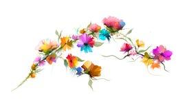 Αφηρημένα λουλούδι και φύλλο ελαιογραφίας Απεικόνιση που απομονώνεται της άνοιξης, σχέδιο χρωμάτων θερινών λουλουδιών πέρα από το ελεύθερη απεικόνιση δικαιώματος