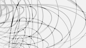 Αφηρημένα μαύρα συνδυασμένα τρισδιάστατα πλαίσια των κύκλων που περιστρέφονται στο άσπρο υπόβαθρο, άνευ ραφής βρόχος ζωτικότητας  διανυσματική απεικόνιση
