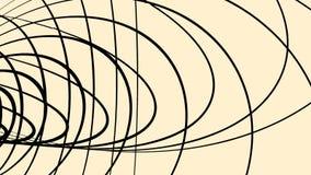 Αφηρημένα μαύρα συνδυασμένα τρισδιάστατα πλαίσια των κύκλων που περιστρέφονται στο ανοικτό καφέ υπόβαθρο, άνευ ραφής βρόχος ζωτικ απεικόνιση αποθεμάτων