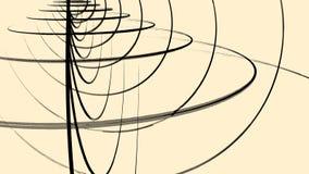 Αφηρημένα μαύρα συνδυασμένα τρισδιάστατα πλαίσια των κύκλων που περιστρέφονται στο ανοικτό καφέ υπόβαθρο, άνευ ραφής βρόχος ζωτικ ελεύθερη απεικόνιση δικαιώματος