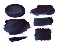 Αφηρημένα μαύρα υπόβαθρο Watercolor και σύνολο σημείων Στοκ εικόνες με δικαίωμα ελεύθερης χρήσης