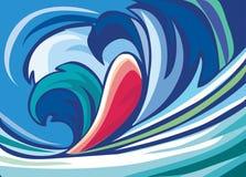 αφηρημένα μπλε κύματα ανασ&ka απεικόνιση αποθεμάτων