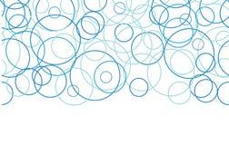 Αφηρημένα μπλε οριζόντια σύνορα κύκλων άνευ ραφής Στοκ φωτογραφία με δικαίωμα ελεύθερης χρήσης