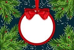 Αφηρημένα νέα έτος διακοπών και υπόβαθρο Χαρούμενα Χριστούγεννας με το πλαίσιο και το τόξο επίσης corel σύρετε το διάνυσμα απεικό ελεύθερη απεικόνιση δικαιώματος