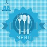 Αφηρημένα να δειπνήσει εικονίδια εμπορευμάτων στο μπλε άνευ ραφής καρό διανυσματική απεικόνιση