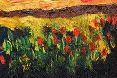 Αφηρημένα λουλούδια με τα ελαιοχρώματα Στοκ Εικόνες
