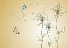 Αφηρημένα λουλούδια με τις πεταλούδες Στοκ εικόνα με δικαίωμα ελεύθερης χρήσης