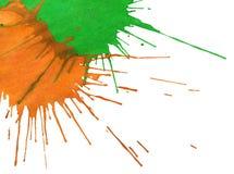 Αφηρημένα πορτοκαλής-πράσινα σημεία watercolor Στοκ Εικόνα