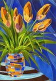 Αφηρημένα πορτοκαλιά λουλούδια στο διαστισμένο βάζο διανυσματική απεικόνιση