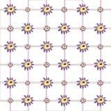 Αφηρημένα πορφυρά λουλούδια & υπόβαθρο καρό Στοκ Φωτογραφία