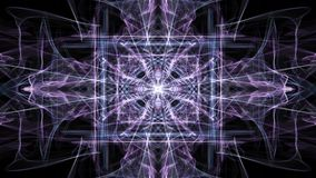Αφηρημένα πορφυρά fractal σχέδια στο μαύρο υπόβαθρο Ζωντανεψοντη Crystalic διακόσμηση στην κίνηση σηράγγων, όμορφη διακόσμηση διανυσματική απεικόνιση