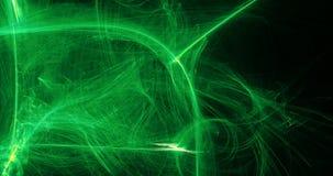 Αφηρημένα πράσινα και κίτρινα μόρια καμπυλών γραμμών στο σκοτεινό υπόβαθρο απεικόνιση αποθεμάτων